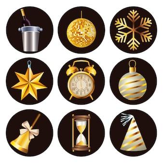 Gelukkige nieuwe jaarviering met bundel van negen vastgestelde pictogrammen in witte illustratie als achtergrond