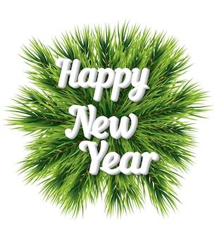 Gelukkige nieuwjaar van letters voorziende kaart met pijnboomtak.