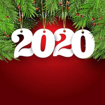 Gelukkige nieuwjaarachtergrond met hangende aantallen