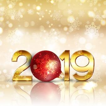 Gelukkige nieuwjaarachtergrond met het gouden van letters voorzien en snuisterij