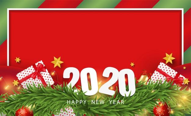 Gelukkige nieuwjaarachtergrond met realistische feestelijke voorwerpen