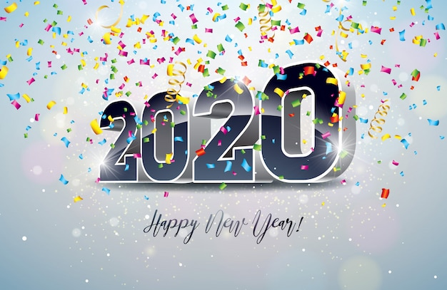 Gelukkige nieuwjaarillustratie met 3d aantal en dalende confettien