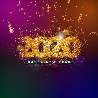 Gelukkige nieuwjaarillustratie met glanzend aantal en dalende confettien