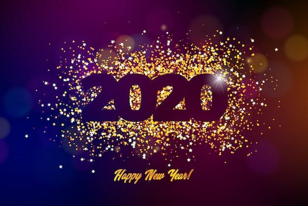 Gelukkige nieuwjaarillustratie met glanzend aantal