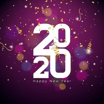 Gelukkige nieuwjaarillustratie met wit aantal en dalende confettien