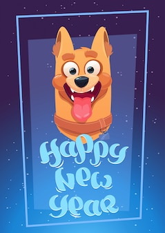 Gelukkige nieuwjaarskaart met hond blauwe achtergrond
