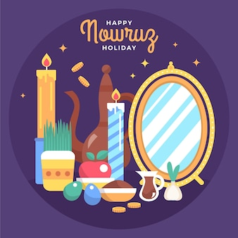 Gelukkige nowruz-illustratie met kaarsen en spiegel