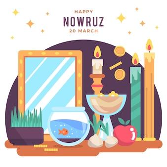 Gelukkige nowruz-illustratie met kaarsen