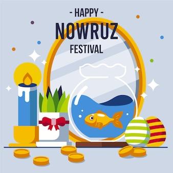 Gelukkige nowruz-illustratie met spiegel en vissenkom