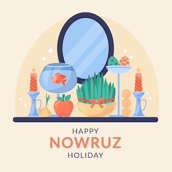 Gelukkige nowruz-illustratie met spruiten en spiegel