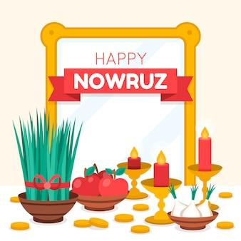 Gelukkige nowruz viering vlakke afbeelding