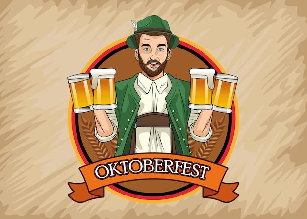 Gelukkige oktoberfest vieringskaart met duitse man bier drinken in frame