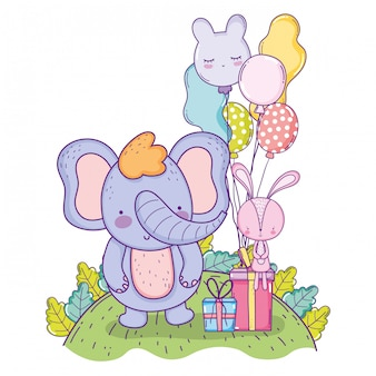 Gelukkige olifantenverjaardag met ballons en cadeausgiften