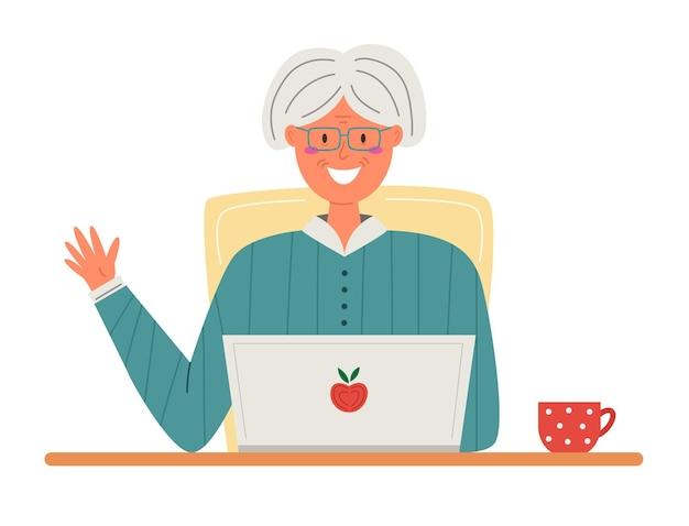 Gelukkige oma met laptop in vlakke stijl