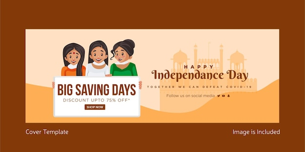 Gelukkige onafhankelijkheidsdag facebbok omslag