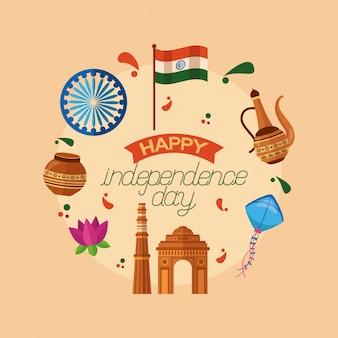 Gelukkige onafhankelijkheidsdag in india in vlakke stijl