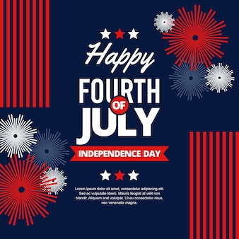 Gelukkige onafhankelijkheidsdag met vuurwerk