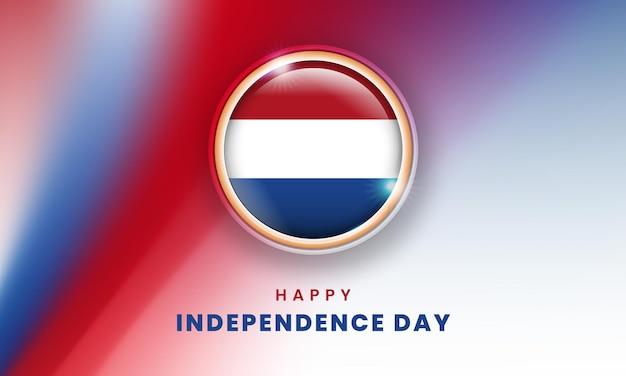 Gelukkige onafhankelijkheidsdag van nederland banner met de nederlandse 3d vlag cirkel