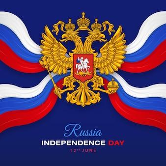 Gelukkige onafhankelijkheidsdag van rusland met embleem van de russische federatie