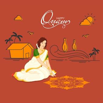 Gelukkige onam-vieringsachtergrond met zuid-indiase vrouw die een rangoli en huisillustratie maakt.