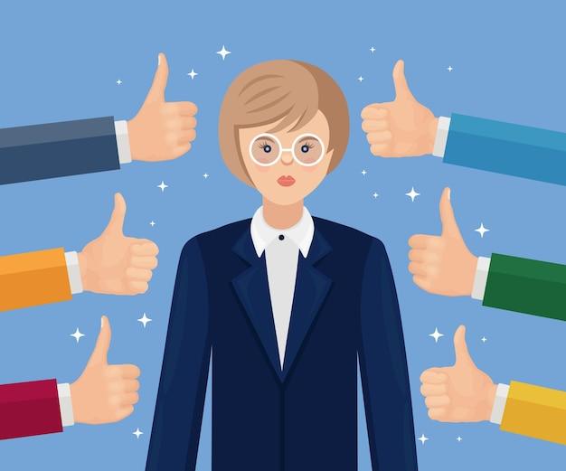 Gelukkige onderneemster en vele handen met omhoog duimen. positieve feedback, succes, goede recensie