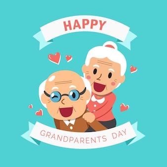 Gelukkige opa en oma grootouders dag