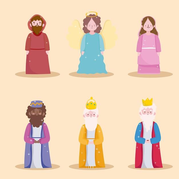 Gelukkige openbaring, drie wijze koningen, heilige mary joseph en engel