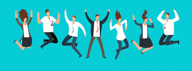 Gelukkige opgewonden bedrijfsmensen, werknemers die samen springen.
