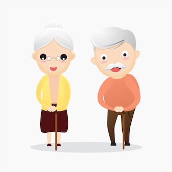 Gelukkige oude man en vrouw met glazen en wandelend riet