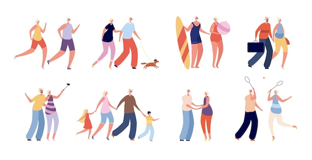 Gelukkige oude mensen. leuk bejaarde echtpaar, senioren actieve levensstijl. gezonde grootouders reizen, winkelen. volwassen man vrouw samen vector set. oma en opa surfplank illustratie
