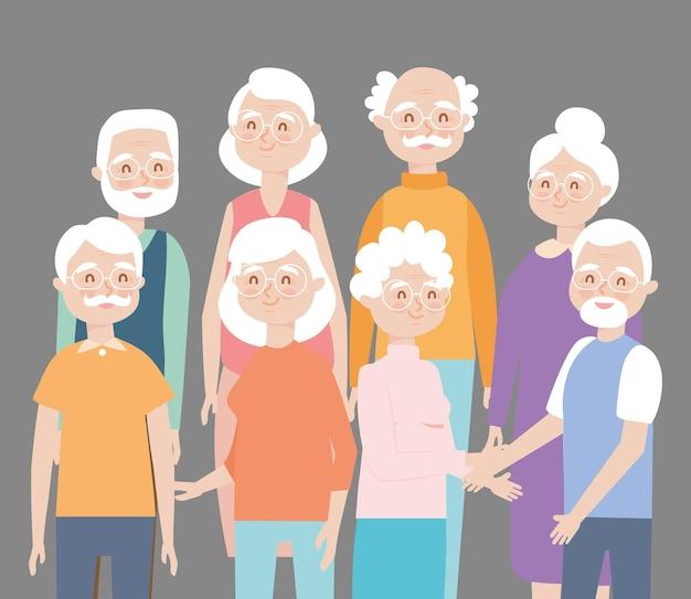 Gelukkige oude mensen op achtergrond