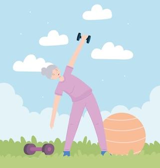Gelukkige oude vrouw fitness