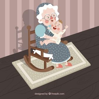 Gelukkige oude vrouw met haar kleinzoon