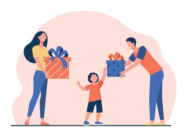 Gelukkige ouders die geschenken geven aan zoon. jongen ontvangt verjaardag presenteert platte vectorillustratie. verrassing, kerstmis, jeugd