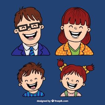 Gelukkige ouders en kinderen