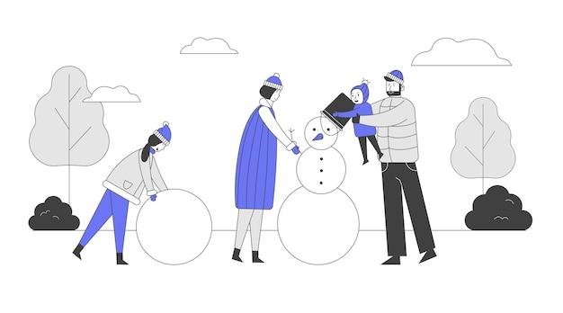 Gelukkige ouders met kinderen die sneeuwpop maken op aard