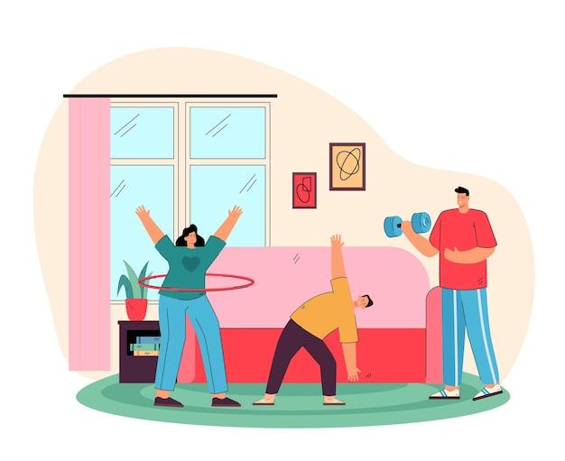 Gelukkige ouders met zoon die oefeningen thuis vlakke afbeelding doen