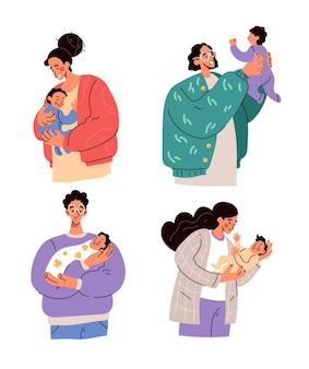 Gelukkige ouders, moeders en vaders die pasgeboren baby's op handen houden