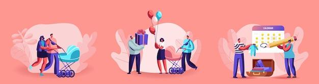 Gelukkige ouders tekens wandelen met kid kinderwagen. vrouw en man wachten baby verjaardag. jeugd, ouderschap, moederschap, moederzorg, babyshowerviering. cartoon mensen vectorillustratie
