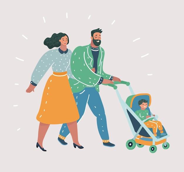 Gelukkige ouders wandelen met hun kleine kind
