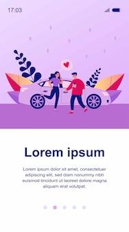 Gelukkige paar dating bijeenkomst bij auto illustratie