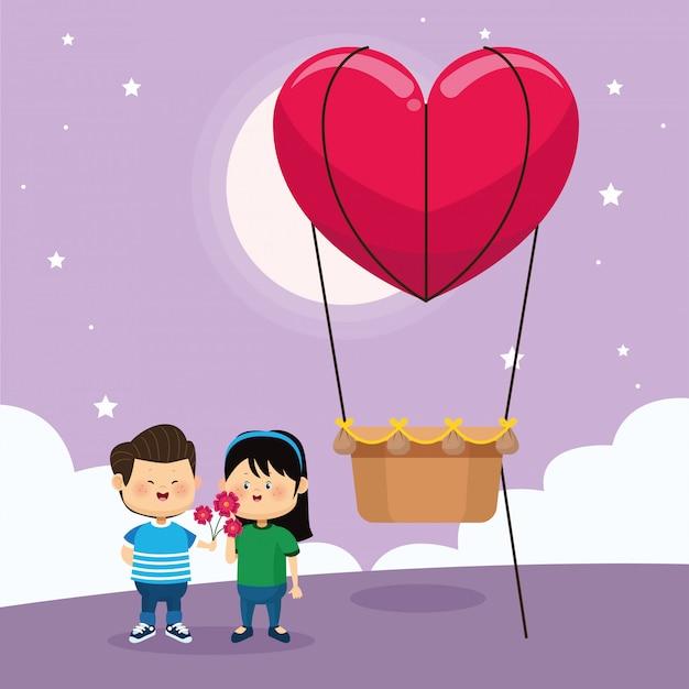 Gelukkige paar en hart hete luchtballon