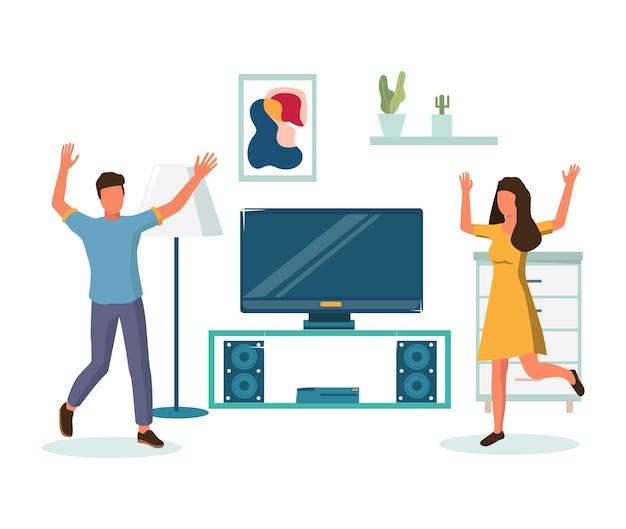 Gelukkige paar genieten van verhuizing en housewarming, platte vectorillustratie. inwijdingsfeest feest na verhuizing naar nieuw huis.