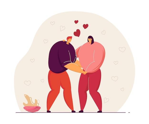 Gelukkige paar knuffelen elkaar platte vectorillustratie. man en vrouw hand in hand op date. liefde, relatie, romantische gevoelens, minnaarconcept voor banner, websiteontwerp of bestemmingswebpagina
