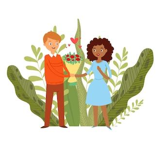 Gelukkige paar, liefdeharten, jonge romantiek, romantische dag, kerel geeft bloemenmeisje, illustratie. geluk samen, schattig jongensmeisje, date relatie vieren, idee geluk.