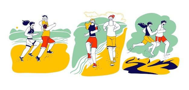 Gelukkige paar man vrouw tekens in sportkleding en sneakers uitgevoerd op strand. zomer buitensport activiteit, joggen en sport gezonde levensstijl training aan zee. lineaire mensen vectorillustratie