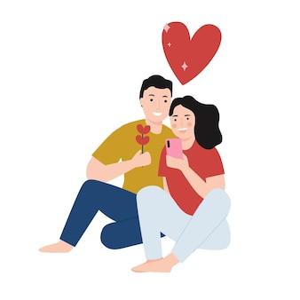 Gelukkige paar nemen een selfie samen cartoon afbeelding