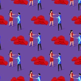 Gelukkige paar romantische relatie naadloze pttern