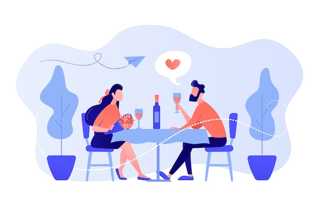 Gelukkige paar verliefd op romantische date aan tafel zitten en het drinken van wijn, kleine mensen. romantische date, romantische relatie, liefdesverhaalconcept. roze koraal bluevector geïsoleerde illustratie
