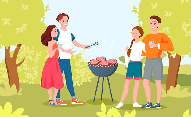 Gelukkige paarmensen bij barbecuepicknick in openlucht.